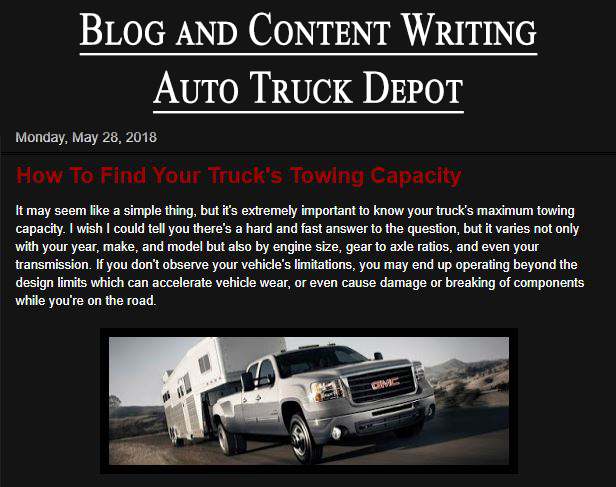 Auto Truck Depot Content Writing